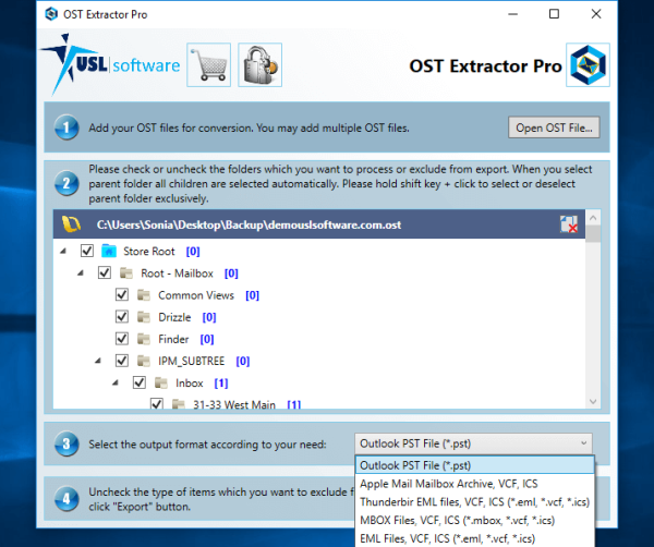 export of OST to PST